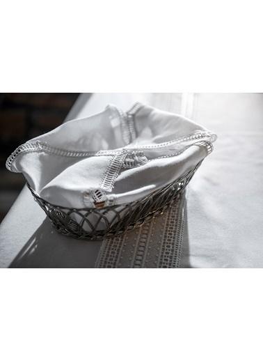Gül Güler Dantelli Ekmek Sepeti Örtüsü Gloria Beyaz